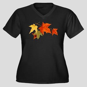 Autumn Colors - One Side Women's Plus Size V-Neck
