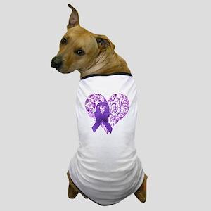 Purple Awareness Ribbon with Roses Dog T-Shirt