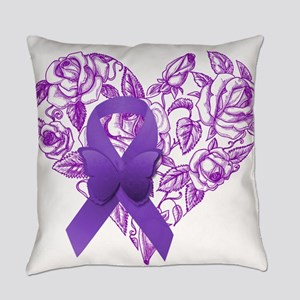 Purple Awareness Ribbon with Roses Everyday Pillow