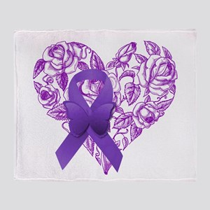 Purple Awareness Ribbon with Roses Throw Blanket