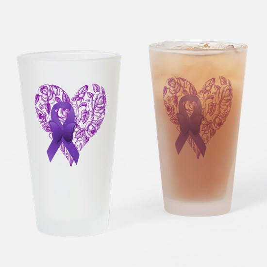 Purple Awareness Ribbon with Roses Drinking Glass