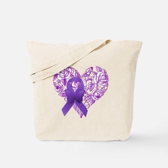Purple Awareness Ribbon with Roses Tote Bag