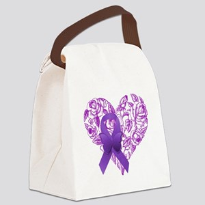 Purple Awareness Ribbon with Roses Canvas Lunch Ba