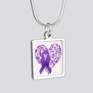 Purple Awareness Ribbon with Roses Necklaces