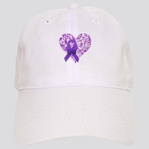 Purple Awareness Ribbon with Roses Baseball Cap