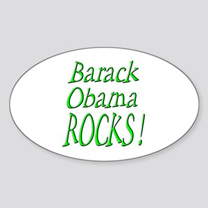 Barack Obama Rocks ! Oval Sticker