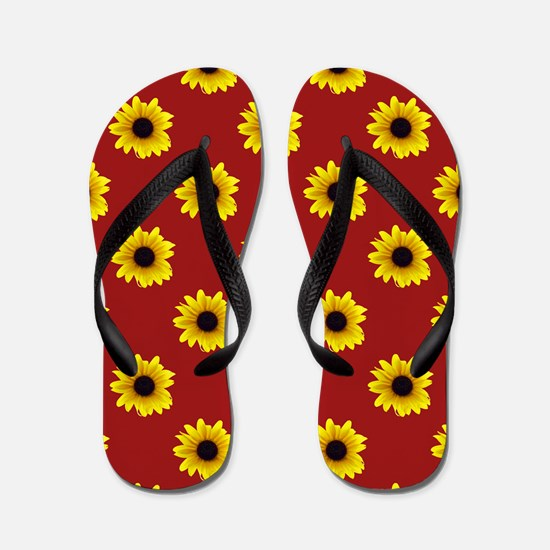 Pretty Sunflower Pattern with Red Backg Flip Flops