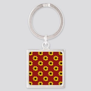 Pretty Sunflower Pattern with Red Square Keychain