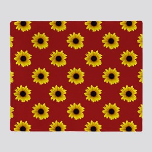 Pretty Sunflower Pattern with Red Ba Throw Blanket