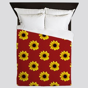 Pretty Sunflower Pattern with Red Back Queen Duvet