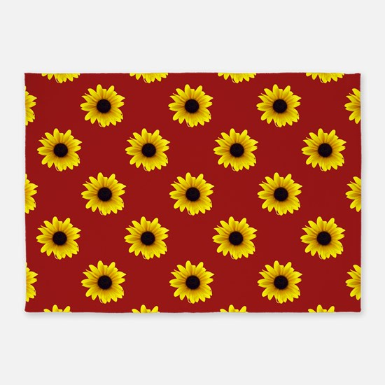 Pretty Sunflower Pattern with Red B 5'x7'Area Rug