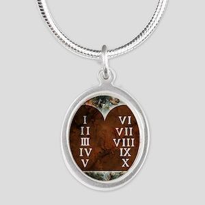 Ten Commandments Silver Oval Necklace