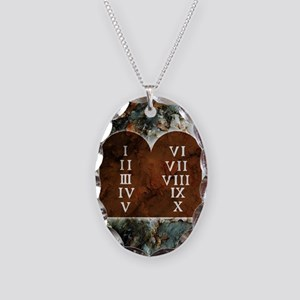 Ten Commandments Necklace Oval Charm