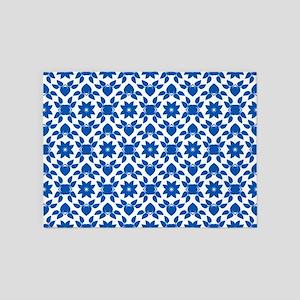 Blue & White Flower Pattern 5'x7'Area Rug