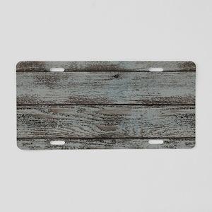 black white barn wood Aluminum License Plate