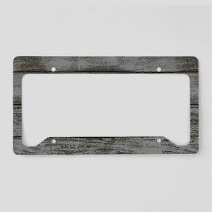 black white barn wood License Plate Holder