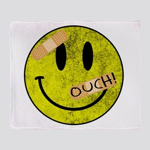 OUCH ADHESIVE TAPES SMILEY FACE Throw Blanket