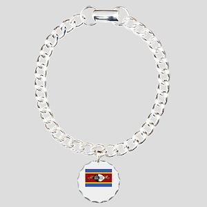 Flag And Name Charm Bracelet, One Charm