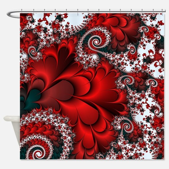 Red Sweetheart Fractal Shower Curtain
