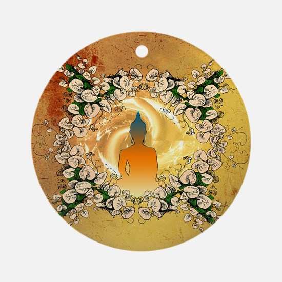 Buddha in the sunset Round Ornament