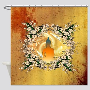 Buddha in the sunset Shower Curtain