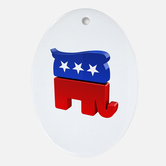 Republican Elephant with Trump Hair Oval Ornament