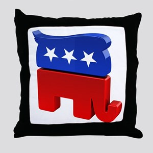 Republican Elephant with Trump Hair Throw Pillow
