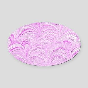 Pink Wave Oval Car Magnet