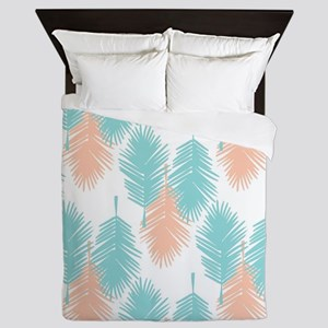 Tropical palm leaves pattern. Queen Duvet