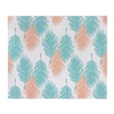 Coral and turquoise Fleece Blankets