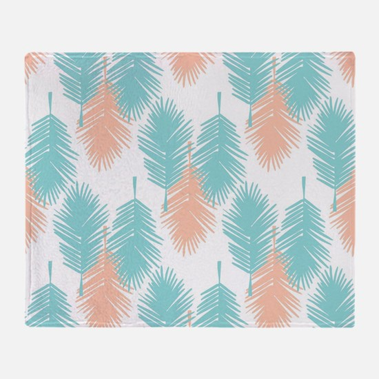 Tropical palm leaves pattern. Throw Blanket