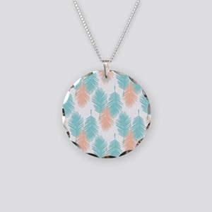 Tropical palm leaves patter Necklace Circle Charm