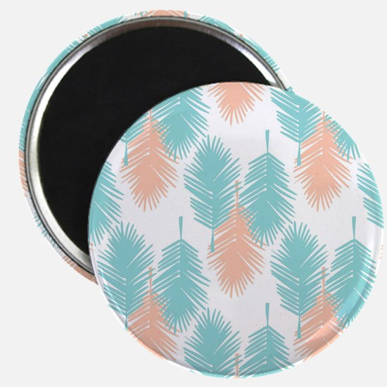 Tropical palm leaves pattern. Magnets