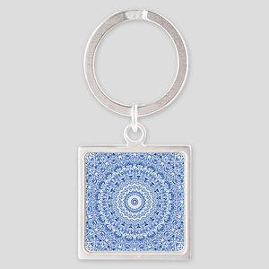 Blue & White Mandala Pattern Square Keychain
