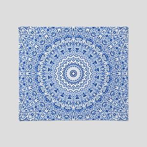 Blue & White Mandala Pattern Throw Blanket