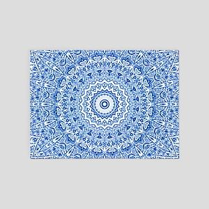 Blue & White Mandala Pattern 5'x7'Area Rug