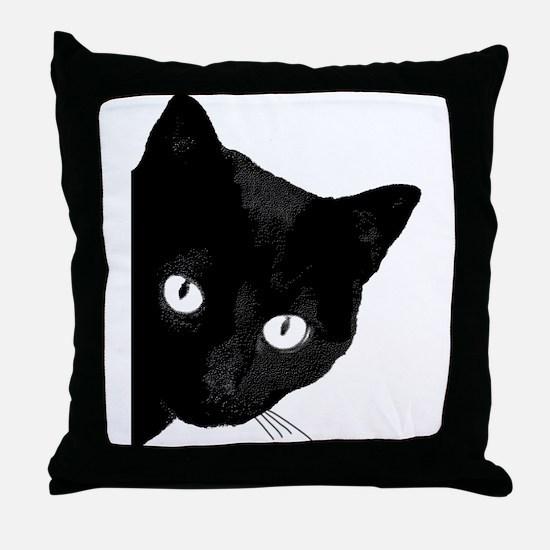 Funny Black cat Throw Pillow
