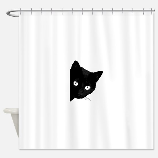 Cute Black Cat Shower Curtain