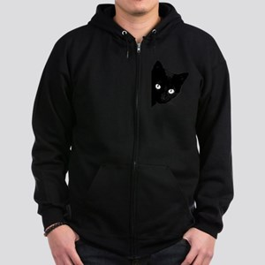 Black cat Zip Hoodie (dark)