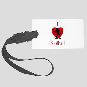 I Heart Football Large Luggage Tag