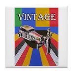 Vinatge Poster Design With Car And Tile Coaster