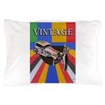 Vinatge Poster Design With Car And Pillow Case