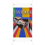 Vinatge Poster Design With Car And Female Banner