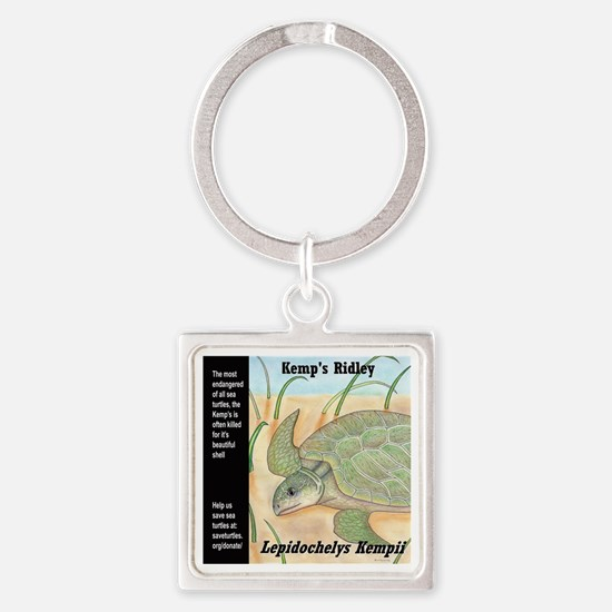 Sea Turtle Kemp's Ridley Square Keychain
