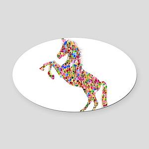 Prismatic Rainbow Unicorn Oval Car Magnet