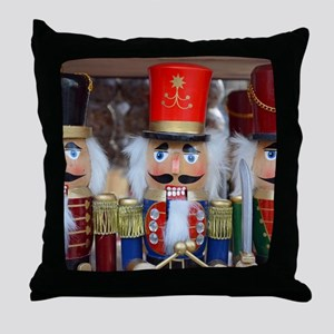 Three christmas nutcrackers Throw Pillow