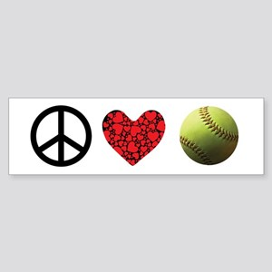 Peace Love Softball Bumper Sticker