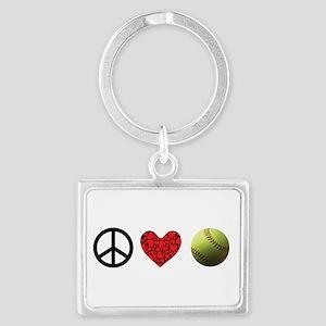 Peace Love Softball Keychains