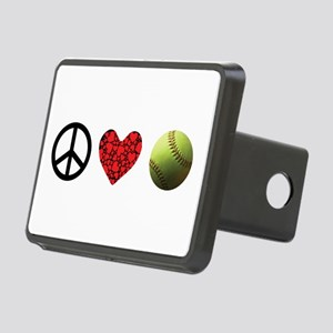 Peace Love Softball Rectangular Hitch Cover