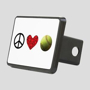 Peace Love Softball Rectangular Hitch Cover